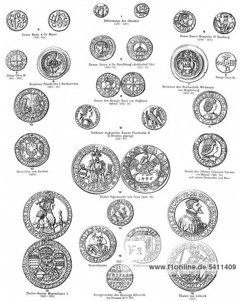 19 Jahrhundert Antike Münzen Aus Meyers Konversations Lexikon Von