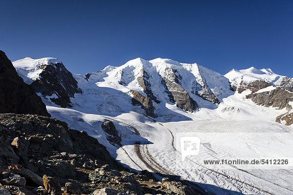 Piz Palü  vorne der Persgletscher  rechts die Bellavista  links der Cambrenagipfel  Graubünden  Schweiz  Europa Piz Palü, vorne der Persgletscher, rechts die Bellavista, links der Cambrenagipfel, Graubünden, Schweiz, Europa
