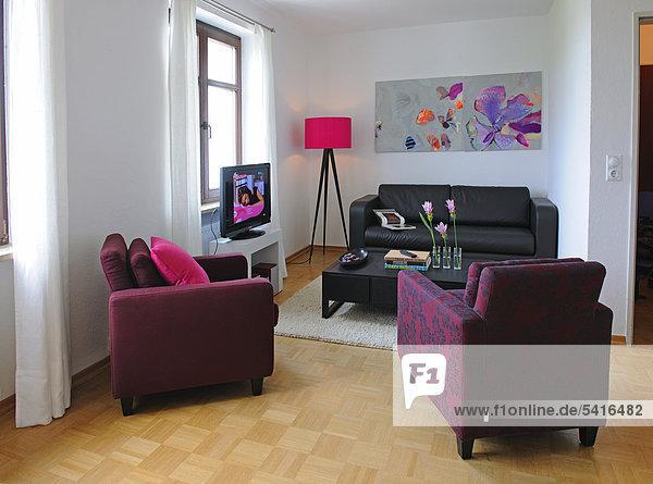 Blume Zimmer streichen streicht streichend anstreichen anstreichend Tisch Wohnzimmer modern