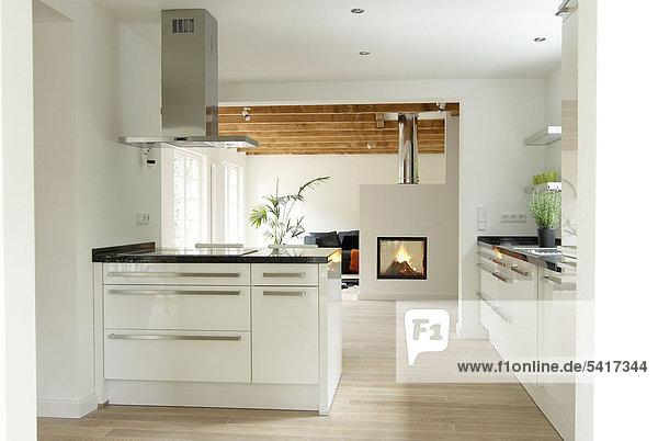 Organisation organisieren Zimmer offen Küche Wohnkamin Wohnkamine Kamin Wohnzimmer modern