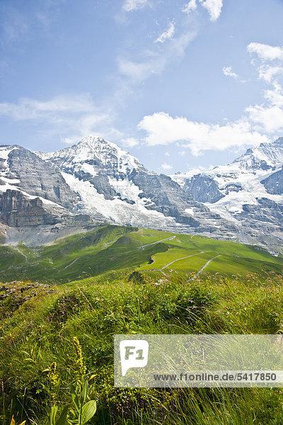 Eiger  Mönch und Jungfrau  Schweizer Berge  Berner Oberland  Grindelwald  Schweiz  Europa Eiger, Mönch und Jungfrau, Schweizer Berge, Berner Oberland, Grindelwald, Schweiz, Europa