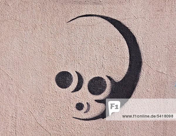 Alien  Außerirdischer  Stencil  Schablonenkunst  Hauswand  Fassade  Riga  Lettland  Europa