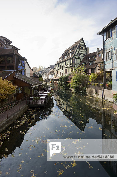 Half-timbered houses  Petite Venise  Little Venice  old town of Colmar  Alsace  France  Europe
