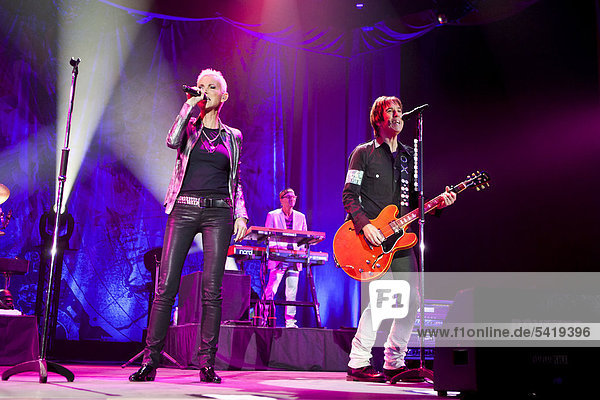'Swedish pop duo ''Roxette'' with Marie Fredrikson and Per Gessle playing live at Hallenstadion in Zurich  Switzerland  Europe'
