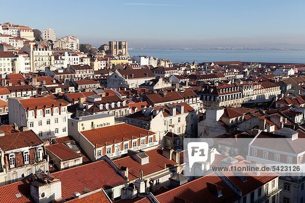 Overlooking Alfama and Tagus river  Lisbon  Portugal  Europe