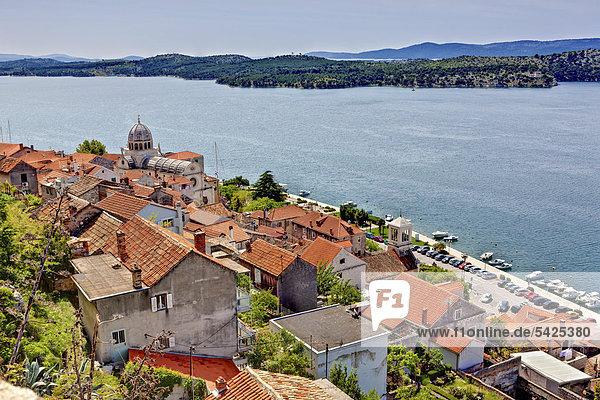View of Sibenik with the Dome of the Cathedral of St. James  Katedrala svetog Jakova  central Dalmatia  Dalmatia  Adriatic coast  Croatia  Europe  PublicGround