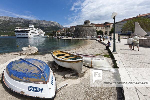 Port of Korcula with a cruise liner  central Dalmatia  Dalmatia  Adriatic coast  Croatia  Europe  PublicGround