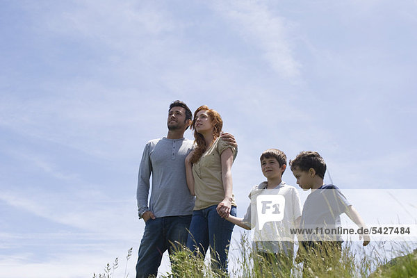 Parents and two boys standing on meadow holding hands  low angle view