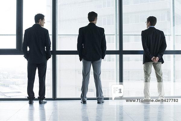 Führungskräfte stehen Seite an Seite  schauen aus dem Fenster