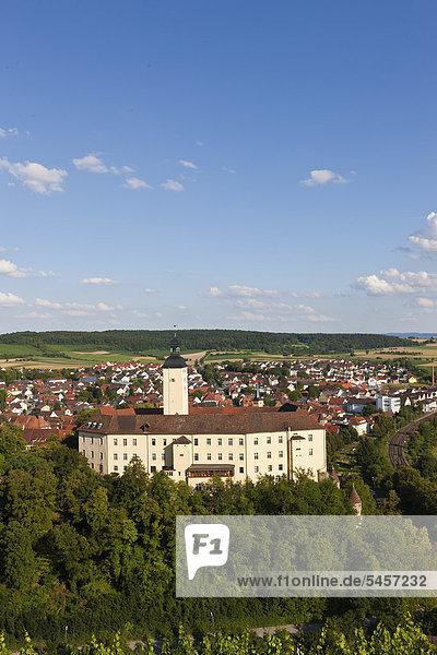 Blick auf Schloss Horneck  Burg des Deutschen Ordens  und Gundelsheim  Odenwald  Baden-Württemberg  Deutschland  Europa  ÖffentlicherGrund