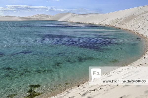"Crystal-clear lagoon in the desert of LenÁÛis Maranhenses  Maranh""o  Brazil  South America"