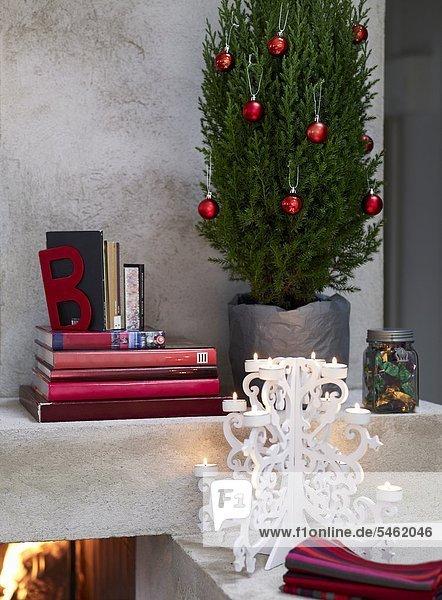 nebeneinander neben Seite an Seite Buch Weihnachtsbaum Tannenbaum Stapel