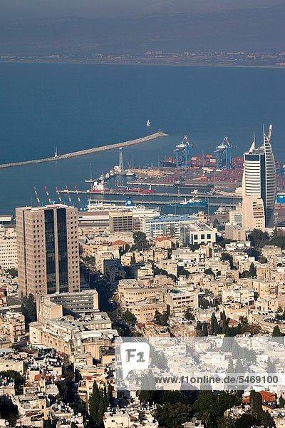 Israel  North Coast  Haifa  elevated view of city and Haifa Port from Carmel Center  late afternoon