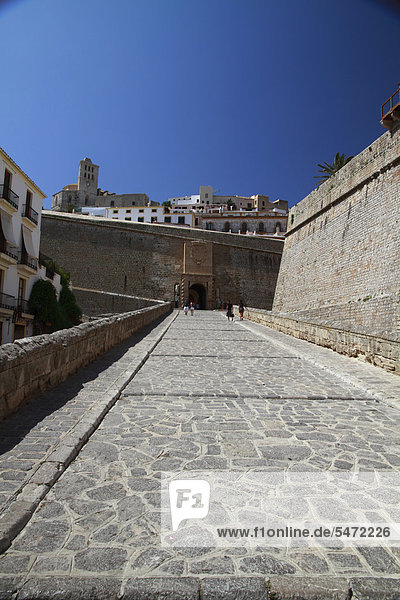 Portal de Ses Taules  main entrance to Dalt Vila  fortified town  UNESCO World Heritage Site  Ibiza  Balearic Islands  Spain  Europe