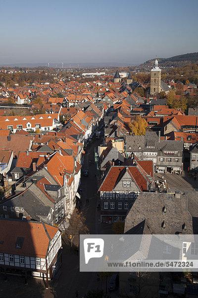 View from the church tower of Marktkirche church  Marktplatz square  Goslar  a UNESCO World Heritage site  Harz  Lower Saxony  Germany  Europe