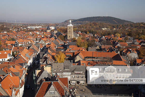 View from the church tower of Marktkirche church  Goslar  a UNESCO World Heritage site  Harz  Lower Saxony  Germany  Europe
