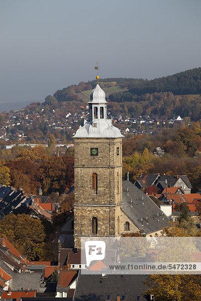 Stephanikirche  Ausblick vom Turm der Marktkirche  Goslar  UNESCO-Weltkulturerbestätte  Harz  Niedersachsen  Deutschland  Europa