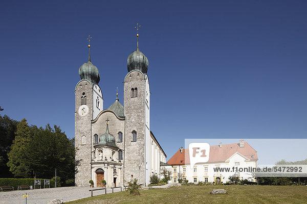 Monastery Church of St. Margaret  Baumburg Abbey  Altenmarkt  Chiemgau  Upper Bavaria  Bavaria  Germany  Europe