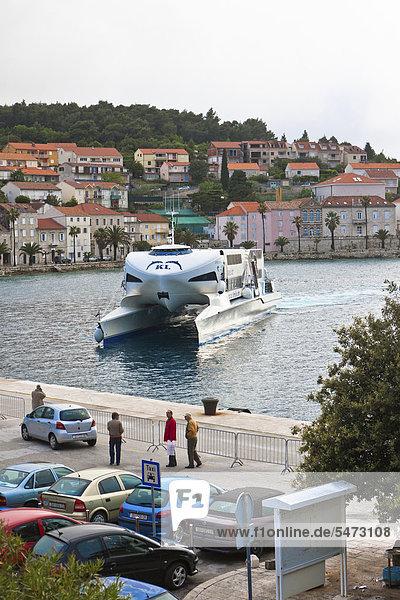 Fast ferry mooring  port of Korcula  Korcula island  central Dalmatia  Dalmatia  Adriatic coast  Croatia  Europe  PublicGround