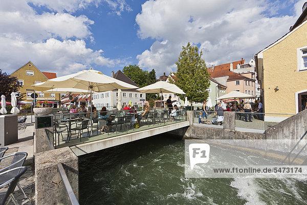 Restaurants along the Lech promenade  Landsberg am Lech  Bavaria  Germany  Europe  PublicGround