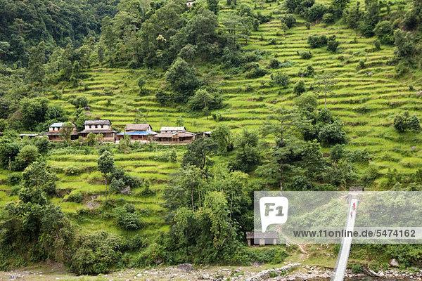 Hochwinkelansicht der Straße nach Chitwan  Nepal