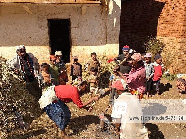 Work of blacksmiths. Ambohibary village. Vakinankaratra region. Madagascar. Indian Ocean.