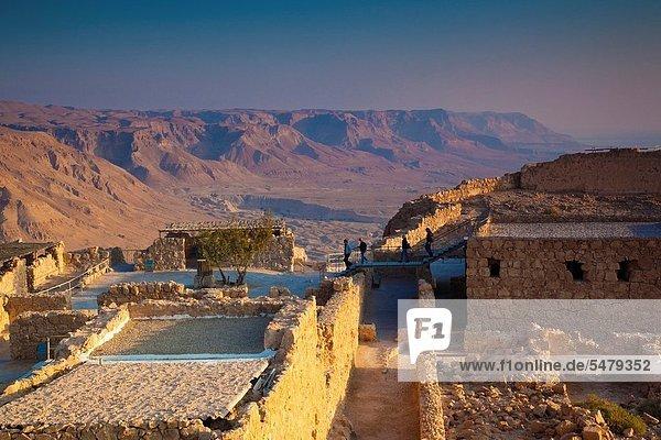 Israel  Dead Sea  Masada  dawn view of the Masada Plateau