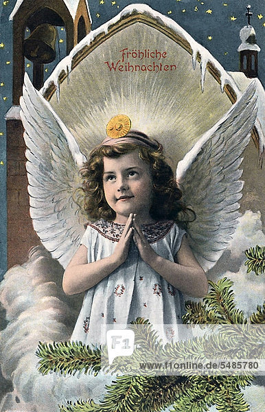 'Angel praying  ''Froehliche Weihnachten'' in writing  German for ''Merry Christmas''  historic illustration'