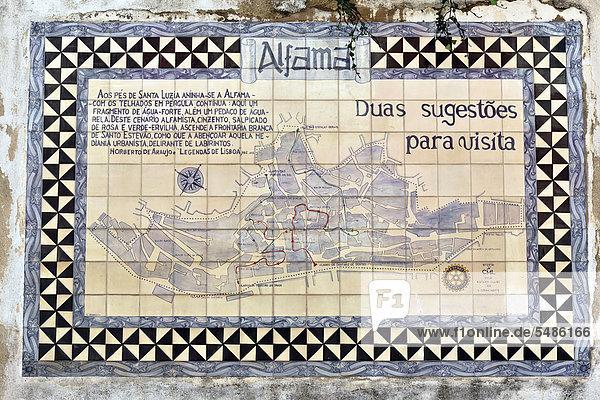 Historischer Stadtplan Alfama von 1980  Rotary Club Lissabon  Lisboa  Portugal  Europa Historischer Stadtplan Alfama von 1980, Rotary Club Lissabon, Lisboa, Portugal, Europa