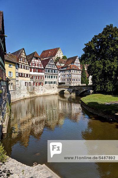 Europa Halle Geschichte Fluss Ansicht Baden-Württemberg Deutschland