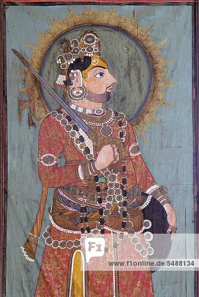 Mural painting  Maharaja of Dungarpur  Juna Mahal  Old Palace of Dungarpur  Rajasthan  India  Asia