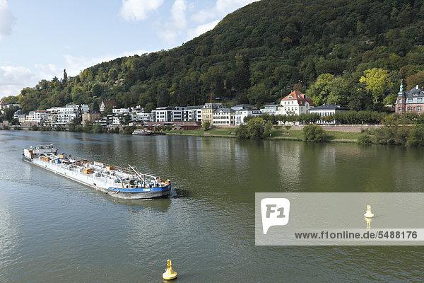 Europa Boot Fluss Benzin Baden-Württemberg Deutschland Heidelberg