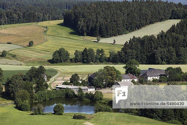 Deutschland,  Bayern,  Franken,  Oberfranken,  Blick auf die Landschaft bei Thierstein
