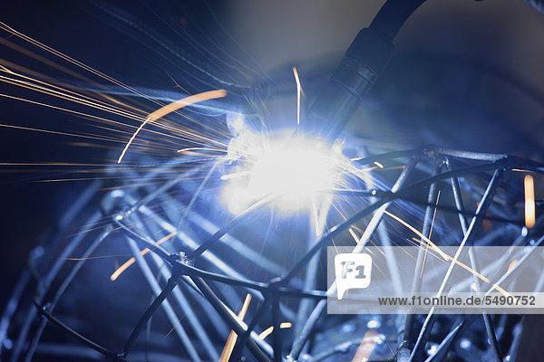 Germany  Upper Bavaria  Munich  Schaeftlarn  Welding torch at work  close up