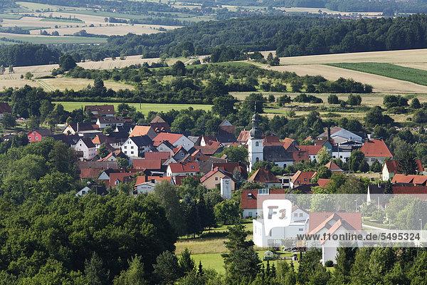 Gunzendorf,  Blick vom Senftenberg,  Gemeinde Buttenheim,  Fränkische Schweiz,  Oberfranken,  Franken,  Bayern,  Deutschland,  Europa,  ÖffentlicherGrund