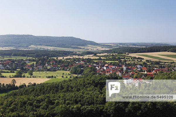 Gunzendorf  Blick vom Senftenberg  Gemeinde Buttenheim  Fränkische Schweiz  Oberfranken  Franken  Bayern  Deutschland  Europa