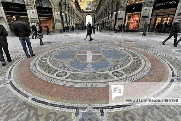 Bodenmosaik  Vittorio Emanuele II Gallerie  erste überdachte Einkaufspassage der Welt des Architekten Giuseppe Mengoni  1872  Mailand  Milano  Lombardei  Italien  Europa  ÖffentlicherGrund