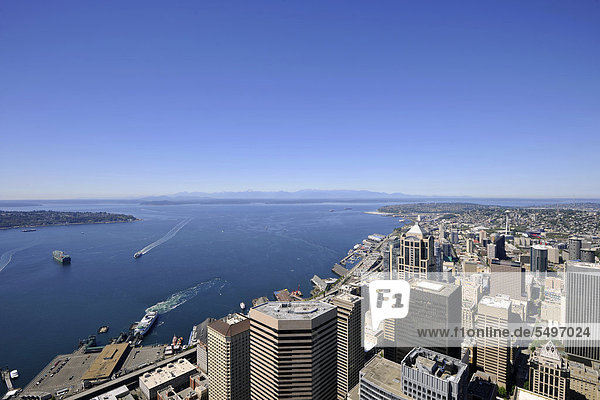 View to the west  Seattle Center  Space Needle  Seattle  Washington  United States of America  USA  PublicGround