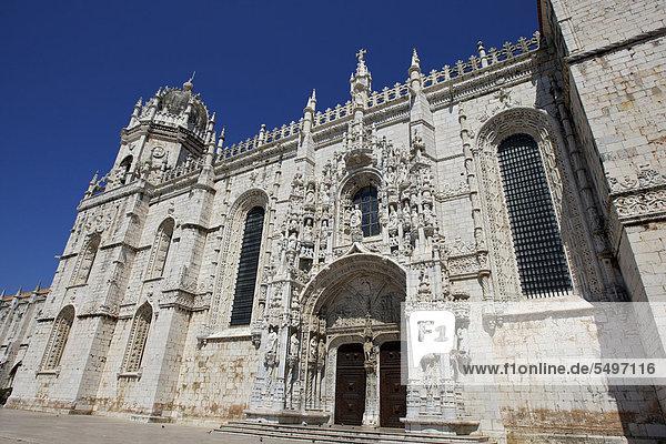 Mosteiro dos Jeronimos  Hieronymus-Kloster  UNESCO Weltkulturerbe  Spätgotik  Manuelinik  Belem  Lissabon  Portugal  Europa