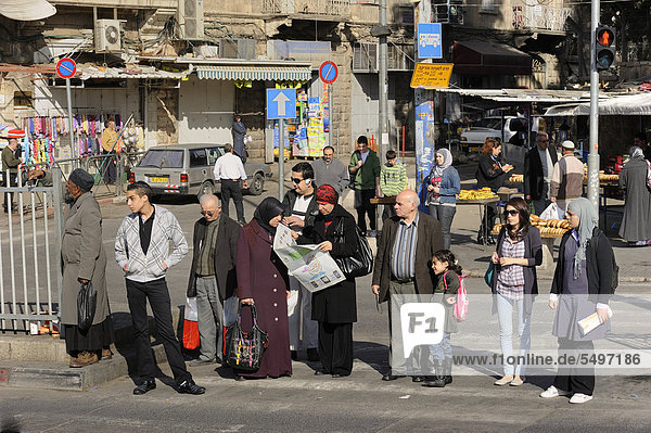 Street scene at the Damascus Gate with Palestinians  Jerusalem  Israel  Middle East