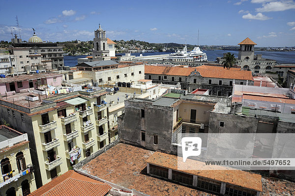 Harbour  view over the rooftops  historic district of Havana  Habana Vieja  Old Havana  Cuba  Greater Antilles  Caribbean  Central America  America
