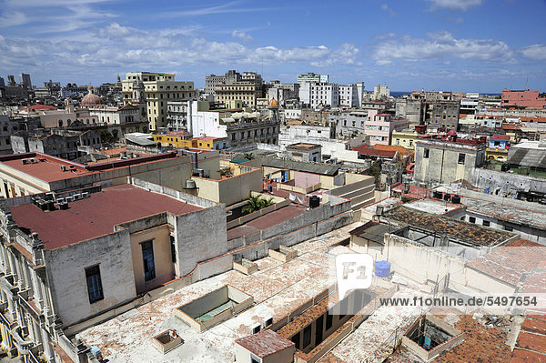 View over the rooftops  historic district of Havana  Habana Vieja  Old Havana  Cuba  Greater Antilles  Caribbean  Central America  America
