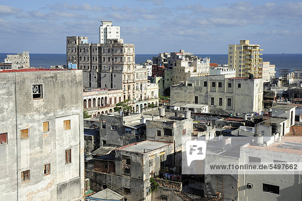 View over the rooftops of the city centre of Havana  Centro Habana  Cuba  Greater Antilles  Gulf of Mexico  Caribbean  Central America  America