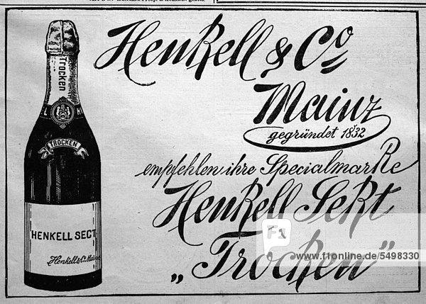 Werbeanzeige für Sekt  veröffentlicht in der Gartenlaube im Jahr 1890 Werbeanzeige für Sekt, veröffentlicht in der Gartenlaube im Jahr 1890