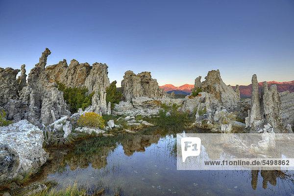 Morgendämmerung  Sonnenaufgang  Tufa Rocks  Kalktuff  Tuff  Gesteinsformationen  South Tufa Area  Natronsee Mono Lake  Mono Basin and Range Region  Sierra Nevada  Kalifornien  Vereinigte Staaten von Amerika  USA