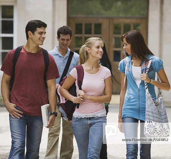 Group of college students talking