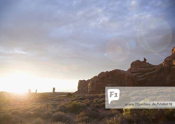 Sonnenuntergang am Moab Arches Nationalpark Utah USA