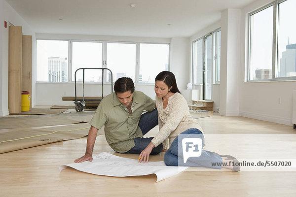 sehen Boden Fußboden Fußböden Wohnhaus Blaupause neu