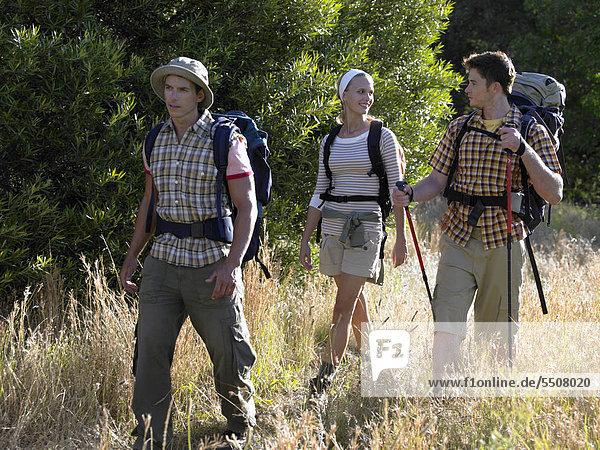 Drei Personen auf einer Wanderung
