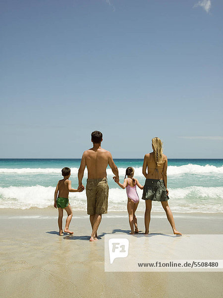 A family at the beach.